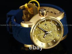 RARE Invicta 18215 Yakuza Automatic Matte Finish Gold-Tone IP Blue Strap Watch