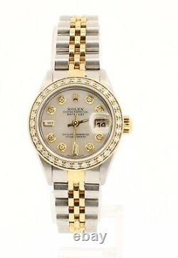 ROLEX Oyster Perpetual 18k & Steel Datejust 26mm WHITE MOP Dial Diamond Watch