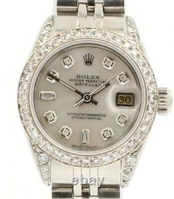 ROLEX Oyster Perpetual Datejust 26mm White MOP Dial Steel Diamond Ladies Watch
