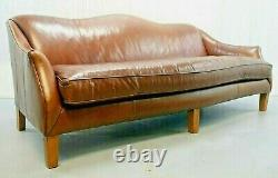 Ralph Lauren Brown Leather Three-seated Camel-back Sofa
