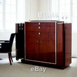 Ralph Lauren Rosewood & Polished Steel Duke Bar Art Deco Cabinet