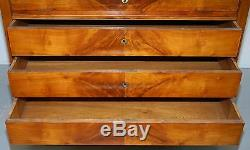 Rare 1840 German Biedermeier Cherry Wood Chest Of Drawers Commode Marble Inside