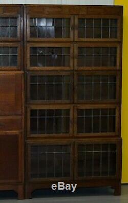 Rare 1900 Minty Oxford Oak Library Stacking Bookcases Suite Desk Globe Wernicke