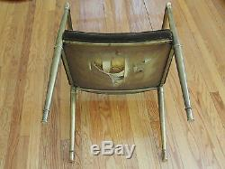 Rare Art Deco Directoire Style Bergere Metal Brass Frame Club Armchair