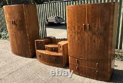 Rare Art Deco Walnut 3 Piece Bedroom Set Amazing Veneers We Deliver