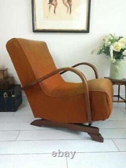 Rare Bentwood Banana Armchair Rocking Chair 1930's Halabala Art Deco style