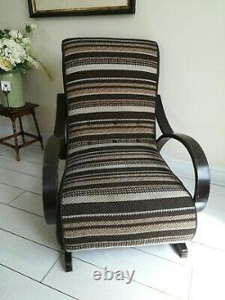 Rare Bentwood Banana Armchair Rocking Chair Signed C Perry 1954 Halabala style