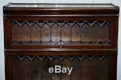 Rare Globe Wernicke Mahogany & Lead Lined Glass Legal Stacking Library Bookcase