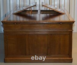 Rare Monumental Victorian Restored Oak Brown Leather Partner Desk Writing Slopes
