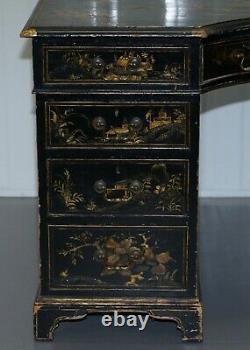 Rare Victorian Chinoiserie Japanned Black Laqured Twin Pedestal Partner Desk
