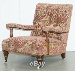 Rare Victorian Walnut Framed Kilim Upholstered Howard Library Reading Armchair
