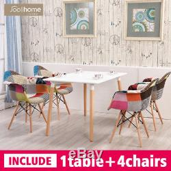 Rectangle Dining table and 4 Armchairs Patchwork Fabric Set Eiffel Style MDF Tub