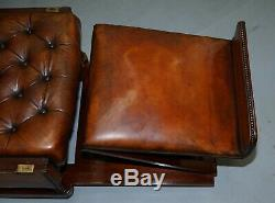 Restored J Foot & Son Adjustable Reclining Easy Armchair Hand Dyed Brown Leather