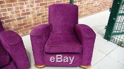 Retro 1930's/ 1940's Art Deco Style Three Piece Lounge Suite Settee Sofa Purple