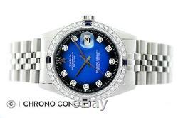 Rolex Mens Datejust 18K White Gold & Stainless Steel Blue Vignette Diamond Watch