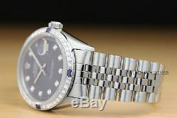 Rolex Mens Datejust 18k White Gold Diamond Sapphire & Steel Blue Dial Watch