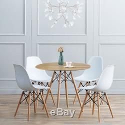Round Dining Table And 4 Chairs Set Cafe Kitchen Living Room Office 80cm WoodLeg