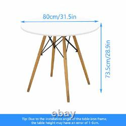 Round Table + 4 Chairs Lounge Living Room Bar Cafe Dining Room White Retro Style