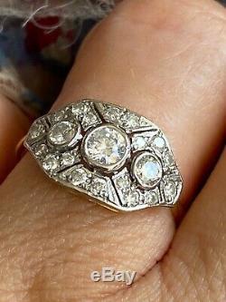 SUPERB, VINTAGE, ANTIQUE ART DECO STYLE 18ct GOLD DIAMOND RING 0.90cts size M