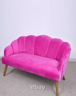 Scalloped Back 2 Seater Velvet Sofa Ocassional Accent Loveseat Settee Hot Pink