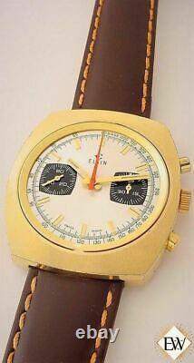 Serviced Vintage 1970's ELGIN Chronograph Valjoux 7733 Gold Plate Panda Watch