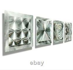 Set of 4 Squares Metal Wall Art Wall Sculpture Original Signed Jon Allen