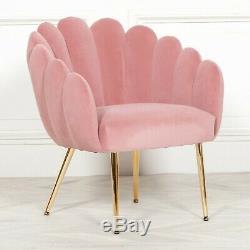 Shell Art Deco Pink Velvet Upholstered Occasional Scalloped Arm Chair Dining