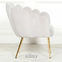 Shell Deco Light Grey Velvet Upholstered Occasional Scalloped Arm Chair Dining