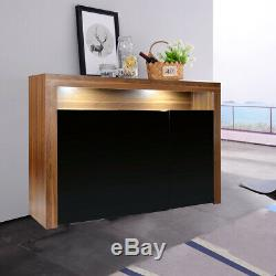 Sideboard Cabinet 3 Doors Cupboard Matt Body With High Gloss Doors + LED Light