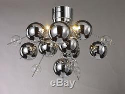 Silver Chrome Ball Ceiling Light, Orb 6 Bulb Chrome Silver Bauble Ceiling Light