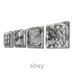 Silver Metal Wall Art Jon Allen 4 Squares Unique Hand-Etched SIGNED GREAT GIFT