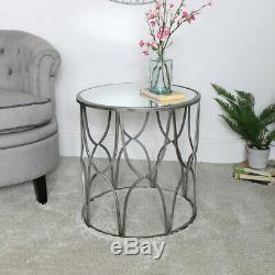 Silver Mirrored Side Table luxurious modern vintage home decor bedside accent