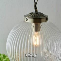 Single Light Pendant Art Deco Ceiling Fitting Ribbed Glass & Brass Dia 35cm
