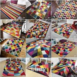 Small Large Vibrant Funky Multi Coloured Geometric Soft Pile Modern Spectrum Rug