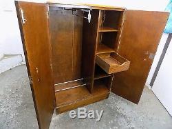 Small, vintage, Deco, 1920's, oak, gentlemans, wardrobe, shelves, drawer, hanging, plinth