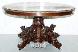 Solid Oak Circa 1880 Victorian Hunting Table Legs Depicting Dog Boar And Foxes