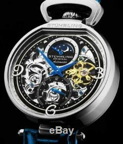 Stuhrling 889 01 Modena Legacy Automatic Dual Time Skeleton AM/PM Mens Watch