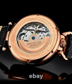 Stuhrling Men's 988 Automatic Wind Stainless Rose Gold Skeleton Leather Watch
