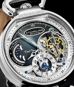 Stuhrling Men's 988 Automatic Wind Stainless Steel Silver Skeleton Leather Watch