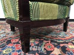 Stunning Art Deco Style Tub Chair Lacquered Mahogany & Green Ribbed Velvet