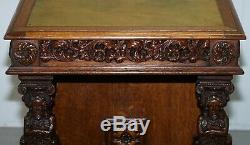 Stunning Hand Carved Early Victorian Circa 1840 Davenport Writing Desk Drawers