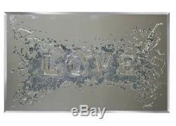 Stunning Love 3d glitter art wall mirror, 100 cm wide love glitter picture