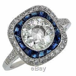 Stunning Platinum Art Deco Style Old European Diamond & Sapphire Engagement Ring