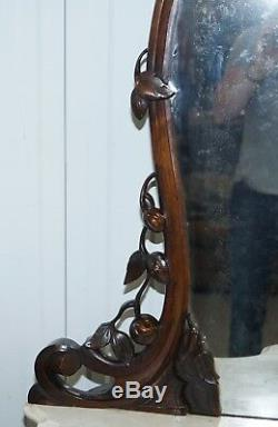 Stunning Victorian Walnut & Marble Sideboard Chiffonier Carved Eagle & Flowers