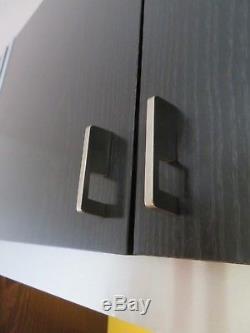Stylish Retro MID Century Vintage 70s Black Ash And Brushed Steel Bookcase