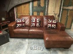 Tan Leather Art Deco Style Chesterfield 3 Seater Corner Sofa RRP £2k