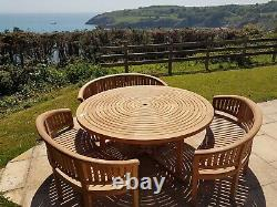 Teak garden furniture round table 3 Banana Benches With Lazy Susan
