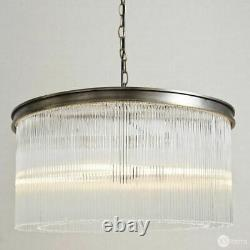 The White Company Helston Large Clear Glass Cylinders Chandelier Ceiling Light