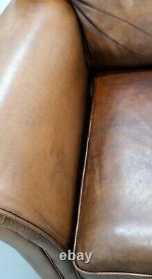 Thomas Lloyds Cambridge Two/three Seater Brown Leather Sofa On Sweeping Arms