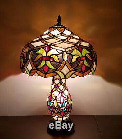 Tiffany Style Glass 2 Way Table Lamp Bulb in Shade and Base Art Deco (Anita)
